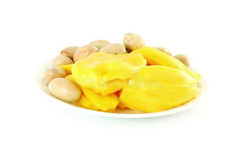 Rijpe jackfruit met zaden op witte achtergrond royalty-vrije stock afbeelding