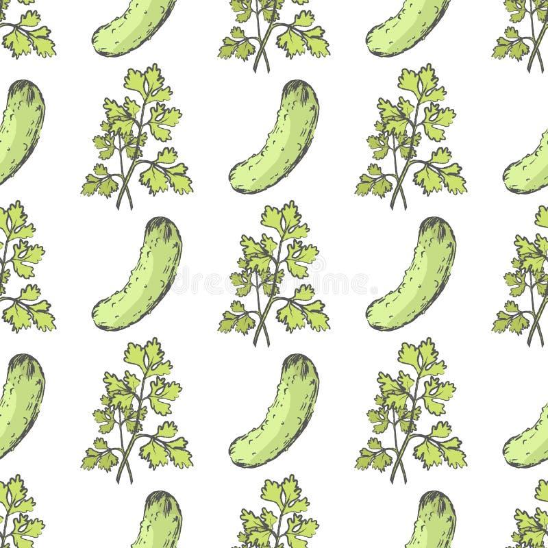 Rijpe Komkommer en Bladpeterselie Eindeloze Textuur royalty-vrije illustratie