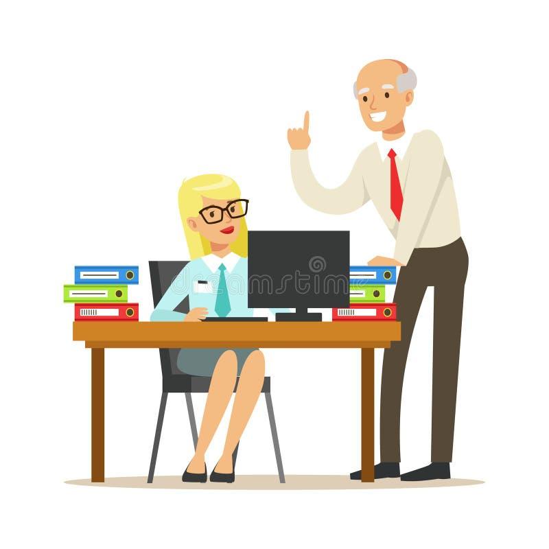 Rijpe leider die instructies geven aan zijn secretaresse De kleurrijke vectorillustratie van het beeldverhaalkarakter royalty-vrije illustratie
