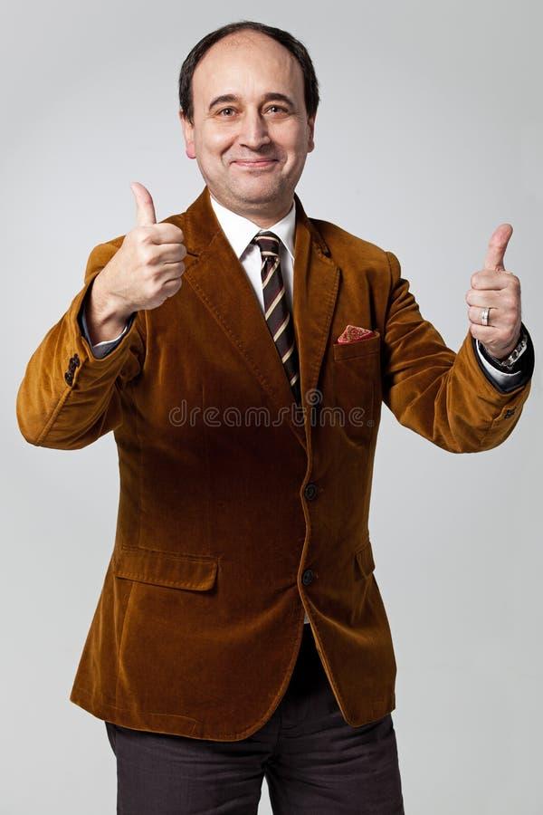 Rijpe Mens met een Positieve Uitdrukking stock foto