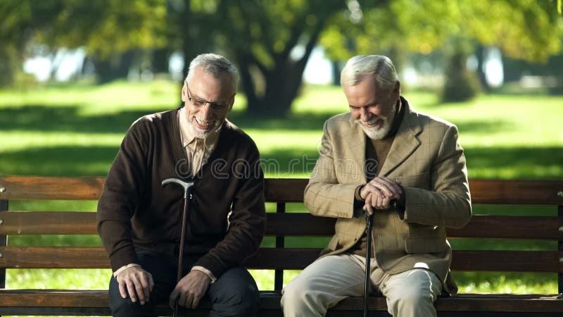 Rijpe mensen die met wandelstokken bank in park lachen zitten die over het leven spreken royalty-vrije stock afbeelding