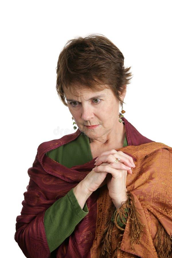 Rijpe Ongerust gemaakte Vrouw stock foto