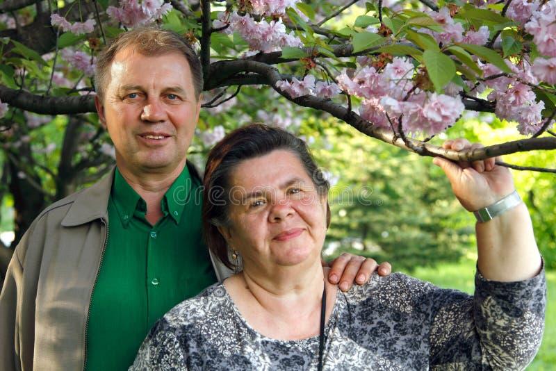 Rijpe paar gelukkige omhelzing in de lentetuin stock fotografie