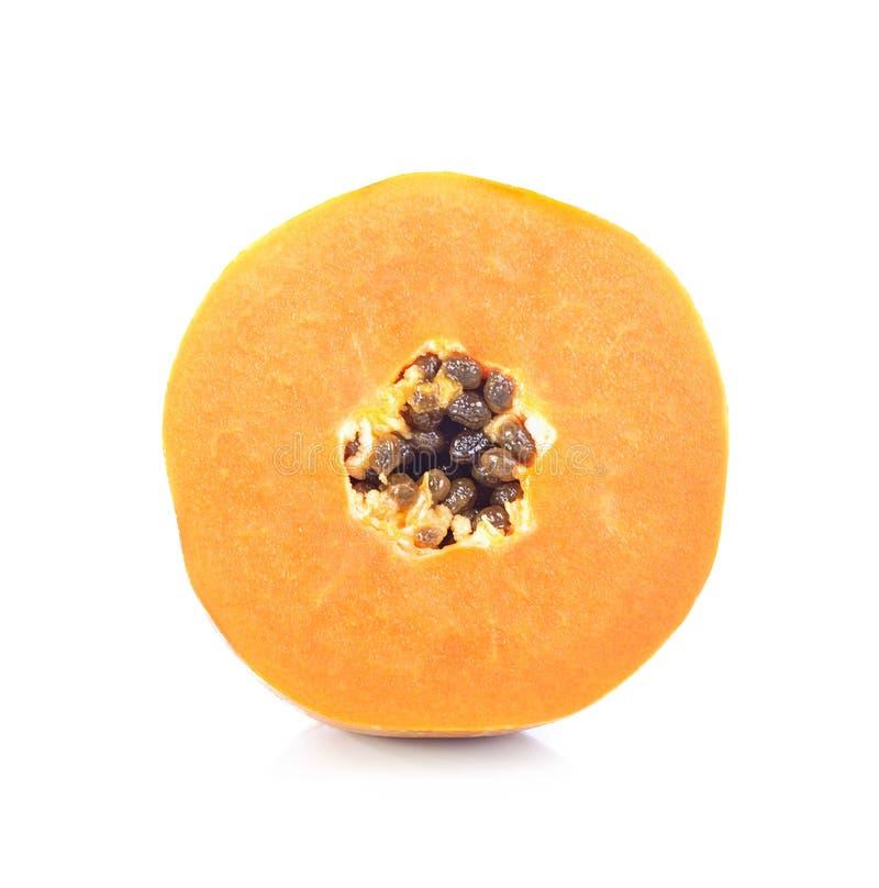 Rijpe papaja op witte achtergrond, besnoeiing in de helft royalty-vrije stock foto