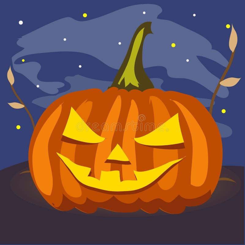 Rijpe pompoen met gesneden ogen en mond Attributen van de vakantie van Halloween in de nacht Affiche op thema van royalty-vrije illustratie