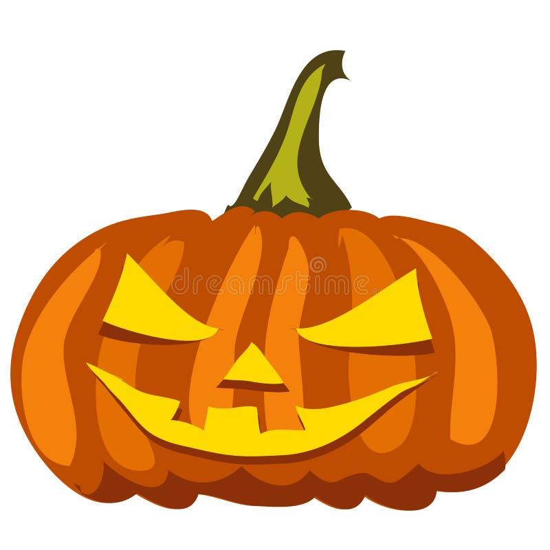 Rijpe pompoen met gesneden ogen en mond Attributen van de vakantie van Halloween op een witte achtergrond wordt geïsoleerd die Ve vector illustratie