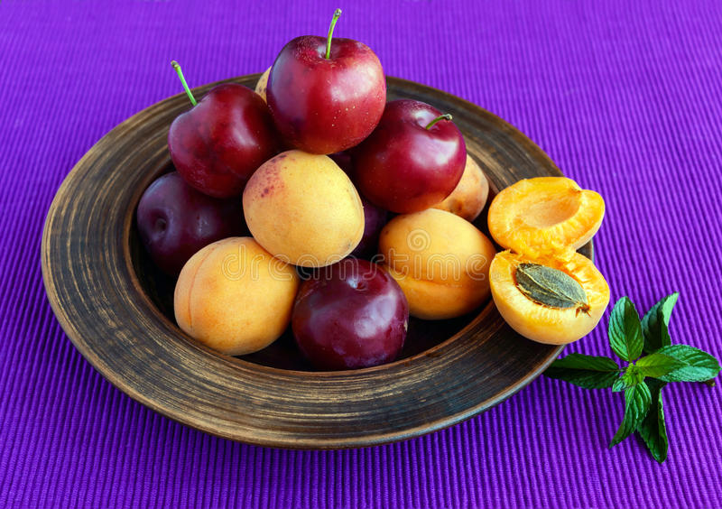 Rijpe pruimen (verscheidenheid: Reine-claude) en abrikozen in een kleikom op een heldere purpere achtergrond stock fotografie