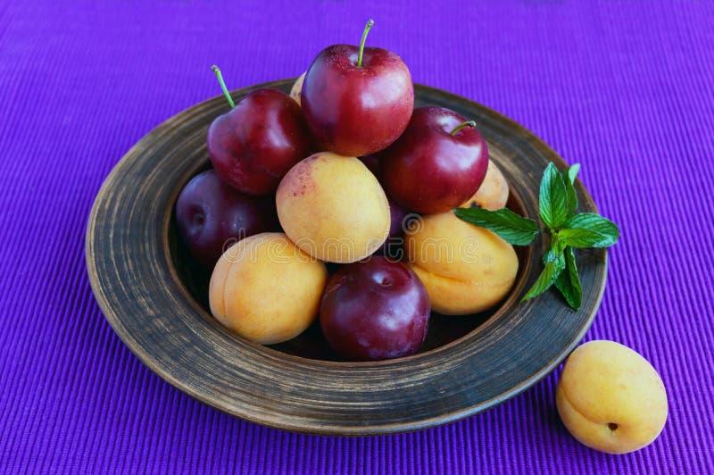 Rijpe pruimen (verscheidenheid: Reine-claude) en abrikozen in een kleikom op een heldere purpere achtergrond stock foto's