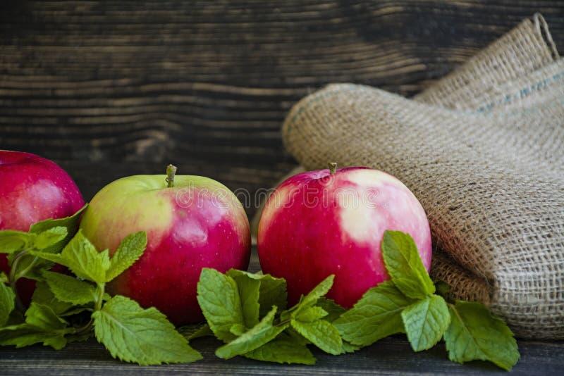 Rijpe rode appelen met munt Zachte nadruk Donkere houten achtergrond stock foto's