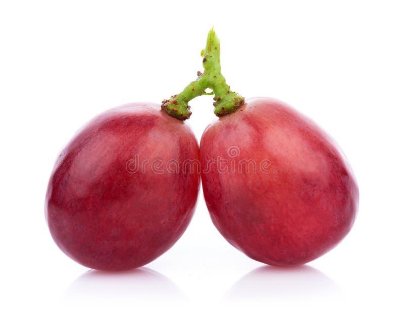 Rijpe rode die druif op witte achtergrond wordt geïsoleerd royalty-vrije stock fotografie