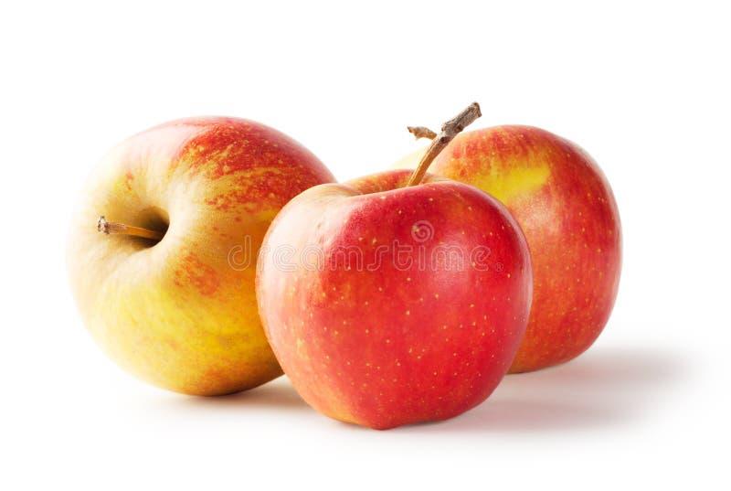Rijpe sappige appel drie stock afbeelding