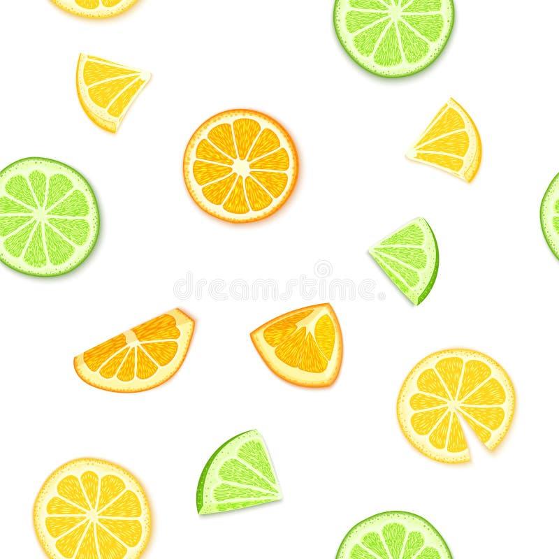 Rijpe sappige tropische vruchten achtergrond Vector illustratie Vers oranje gepeld de citroenfruit van de citrusvruchtenkalk, stu vector illustratie