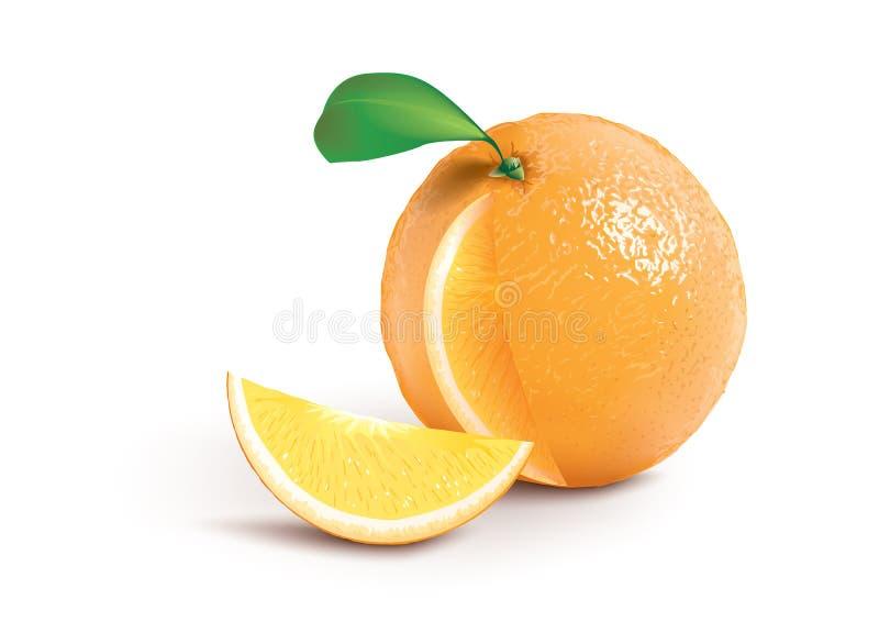 Rijpe sinaasappel met een jucyplak stock illustratie