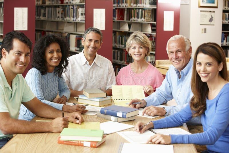 Rijpe studenten die in bibliotheek werken stock afbeelding