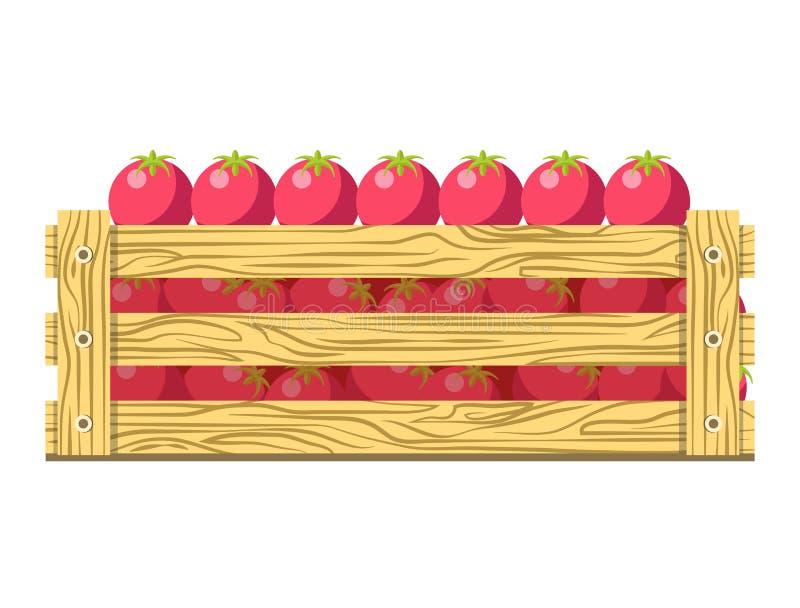 Rijpe verse tomaten in houten doos geïsoleerde illustratie stock illustratie