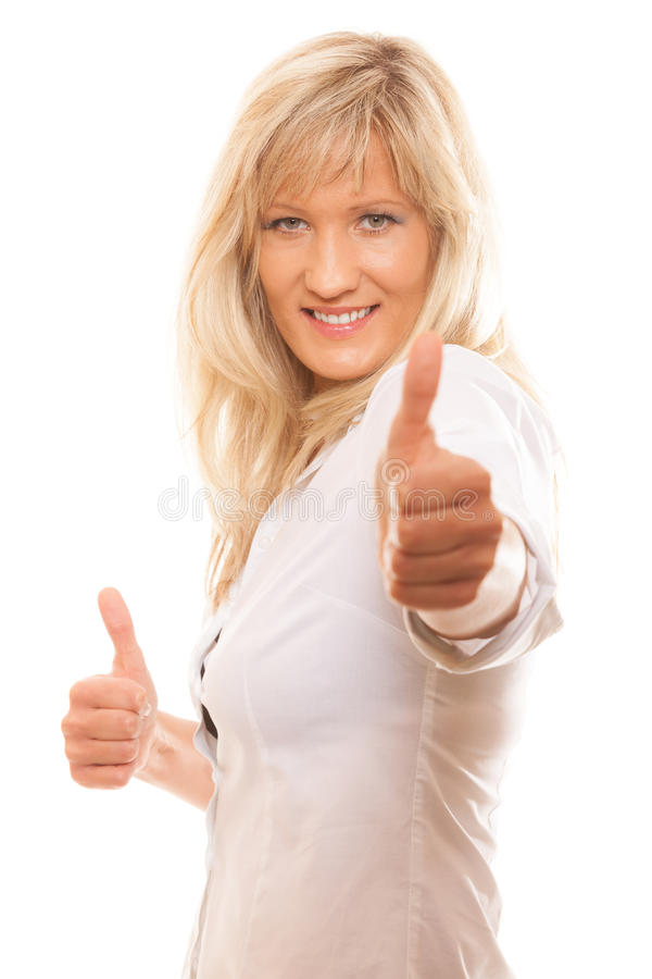 Rijpe vrouw die geïsoleerd duimen teken opgeven stock afbeelding