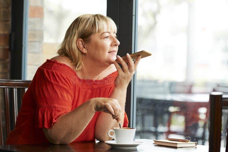 Rijpe vrouw die haar ideeën en gedachten registreren stock afbeeldingen