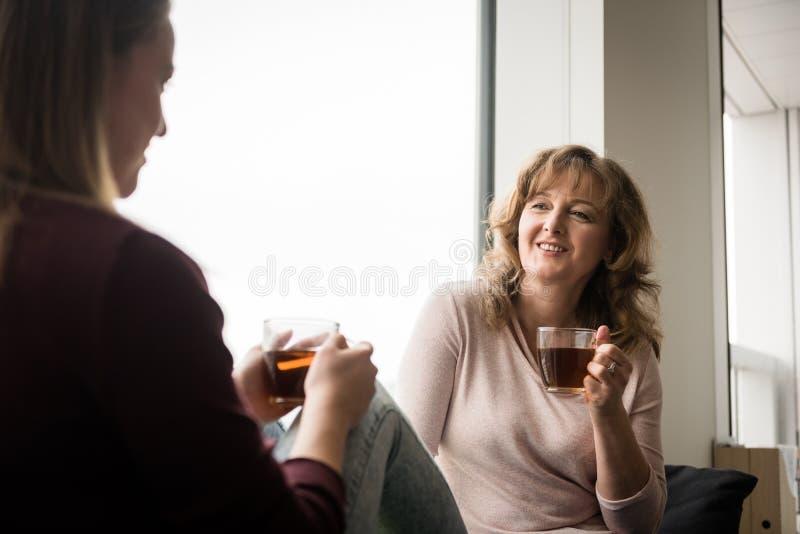 Rijpe vrouw die thee met volwassen dochter hebben thuis royalty-vrije stock foto's