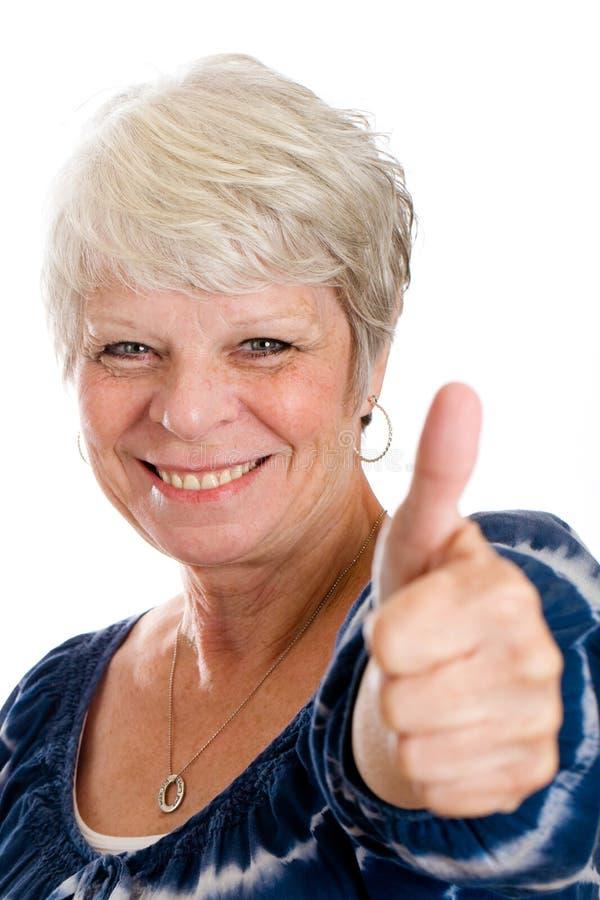 Rijpe Vrouw met Goed Nieuws stock foto