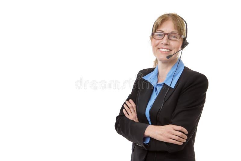 Rijpe vrouw met hoofdtelefoon royalty-vrije stock afbeelding