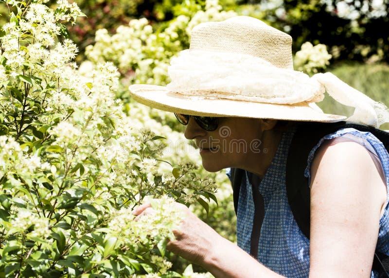 Rijpe vrouwen ruikende bloemen stock foto