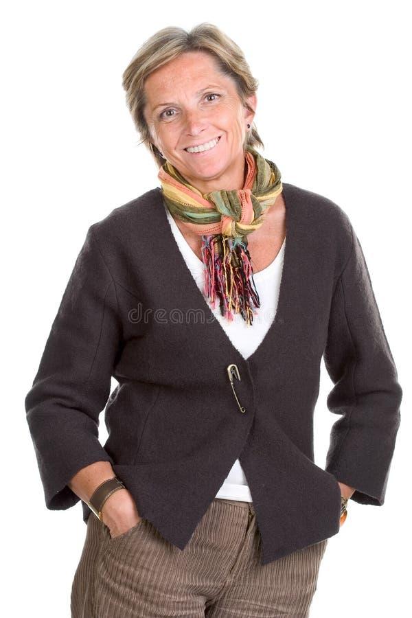 Rijpe vrouwenglimlachen royalty-vrije stock foto