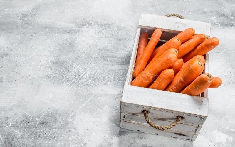 Rijpe wortel in de doos royalty-vrije stock afbeeldingen