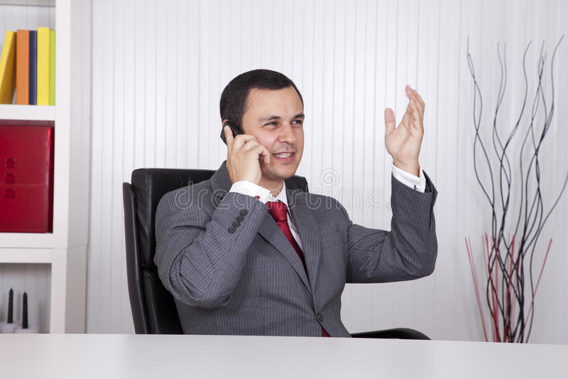 Rijpe zakenman die op de telefoon spreekt royalty-vrije stock afbeelding
