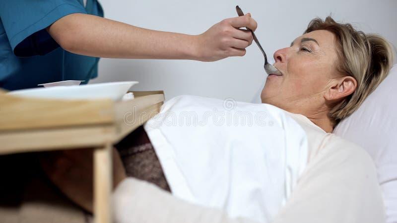 Rijpen de verpleegsters voedende gehandicapten vrouw met havermoutpap, zorg voor pati?nten, armenhuis royalty-vrije stock foto