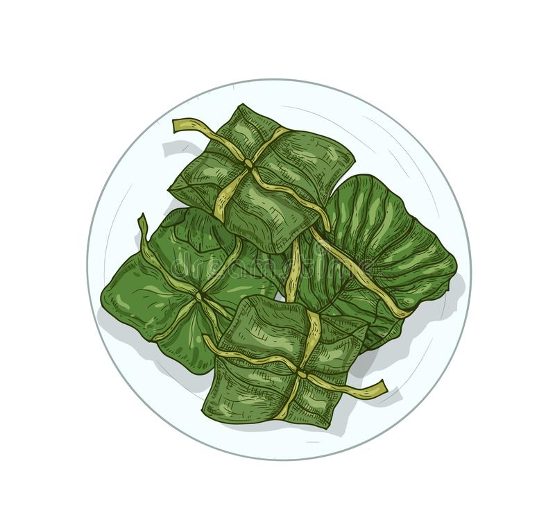 Rijst in bananen laat handgetekende vectorillustratie zien Khao Tom Traditioneel Thaise dessert geïsoleerd op witte achtergrond royalty-vrije illustratie