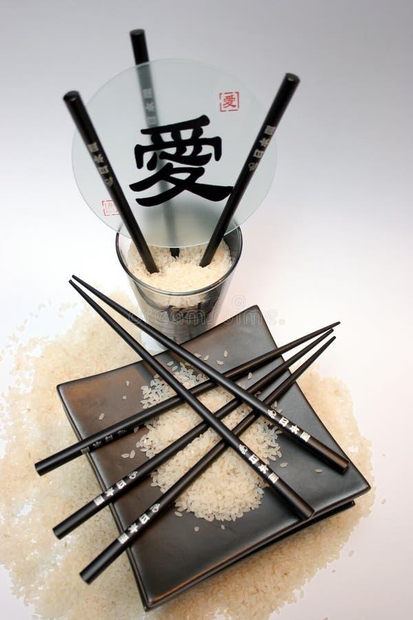 Rijst, eetstokjes stock afbeelding