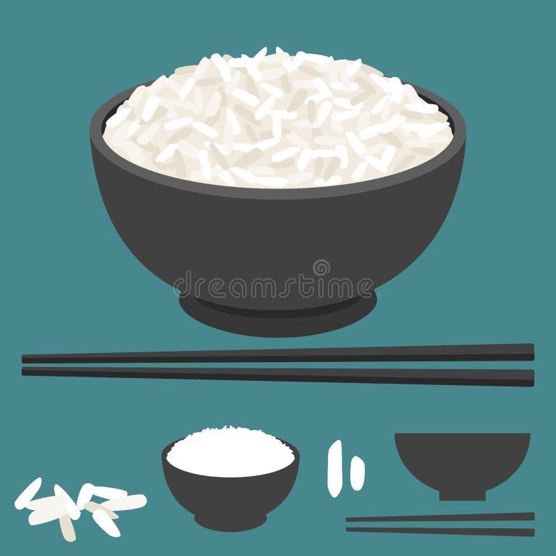 Rijst in kom en eetstokjesvector royalty-vrije illustratie