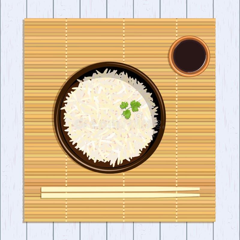 Rijst in kom met eetstokjes De mat van het keukenbamboe, sause terrine royalty-vrije illustratie