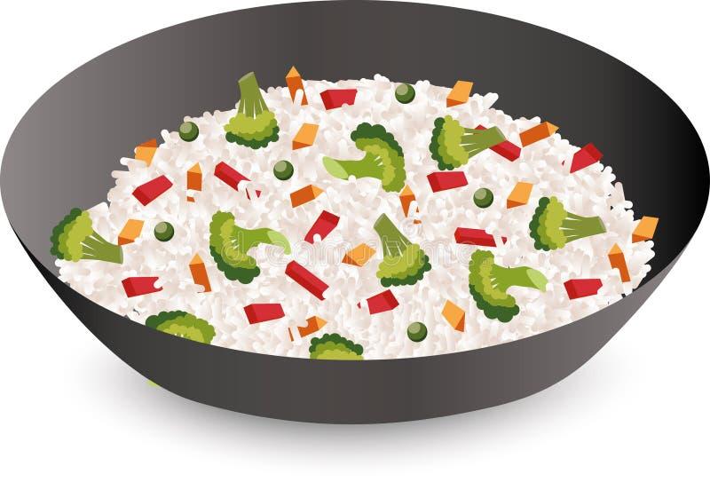 Rijst met groenten in een kom op witte achtergrond wordt geïsoleerd die Vector illustratie vector illustratie