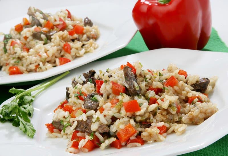 Rijst met groenten en lever royalty-vrije stock afbeeldingen