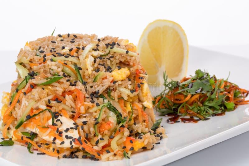 Rijst met kruiden en groenten stock foto