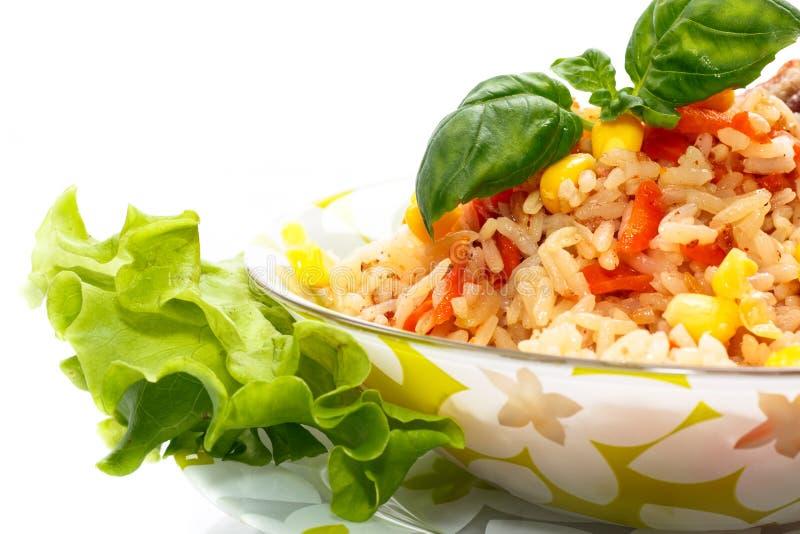 Rijst met vlees stock afbeelding
