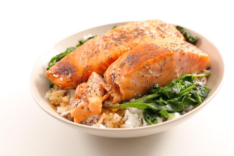 Rijst, zalm en groente stock foto's