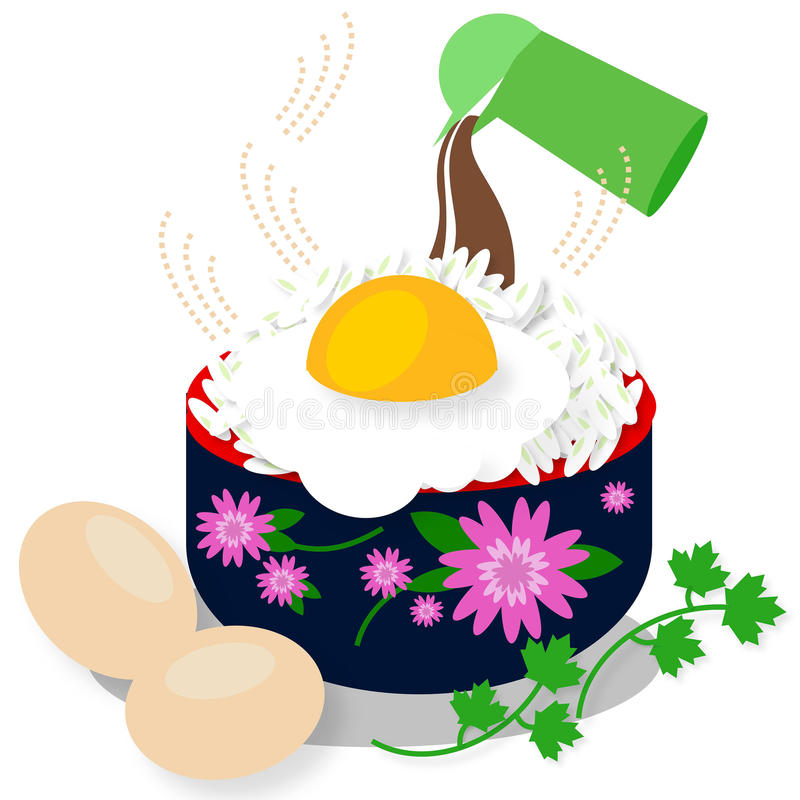 Rijstkom met gebraden ei op witte achtergrond stock foto