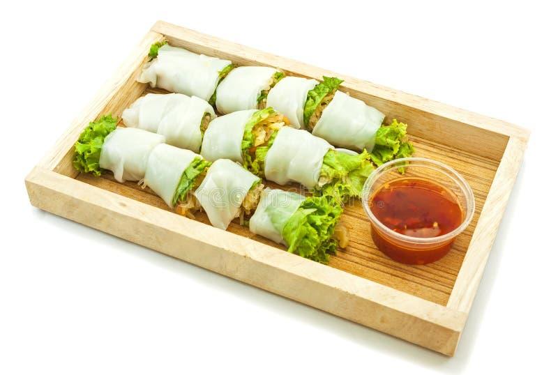Rijstpapier verpakte groente met vermicellinoedels royalty-vrije stock afbeelding