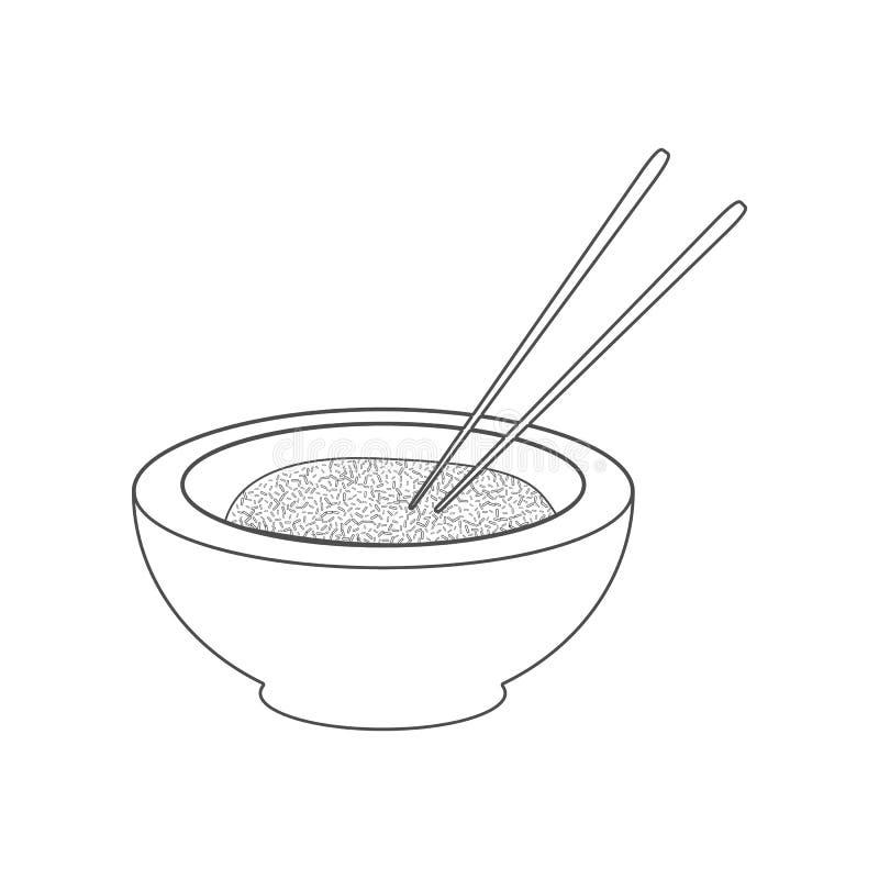 Rijstpictogram Element van China voor mobiel concept en webtoepassingenpictogram Overzicht, dun lijnpictogram voor websiteontwerp stock illustratie