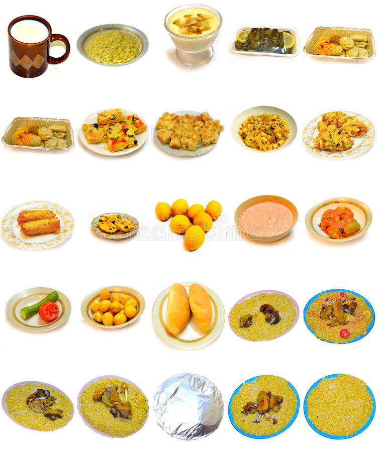 Rijstschotels en het Dineren voedsel van de keuken Arabier stock foto's