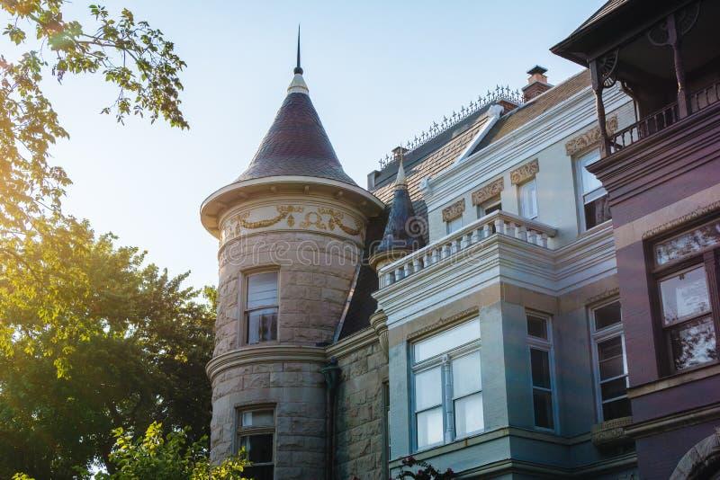 Rijtjeshuizen in Capitol Hill, Washington, gelijkstroom royalty-vrije stock afbeeldingen