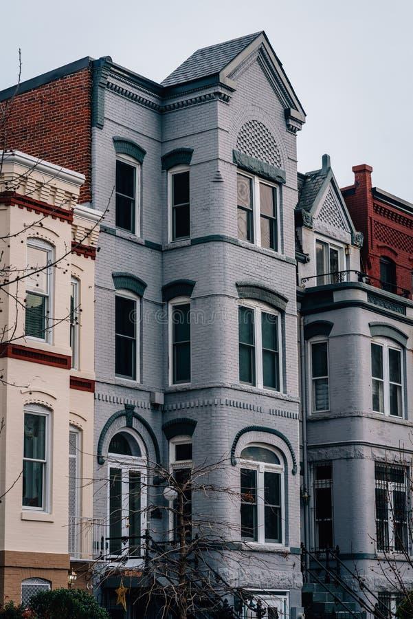 Rijtjeshuizen in Capitol Hill, Washington, gelijkstroom stock fotografie