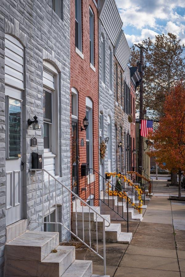 Rijtjeshuizen in Kanton, Baltimore, Maryland royalty-vrije stock foto's