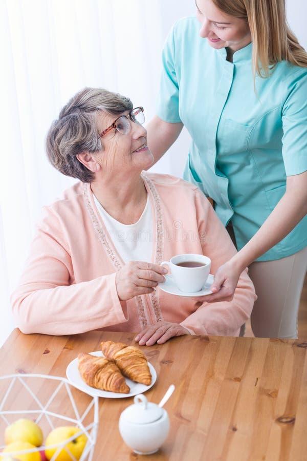Rik äldre kvinna som har omsorg royaltyfria bilder