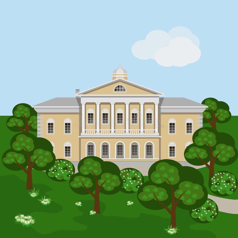 Rik mangårdsbyggnad eller slott för tecknad film i grönt sommarlandskap vektor illustrationer