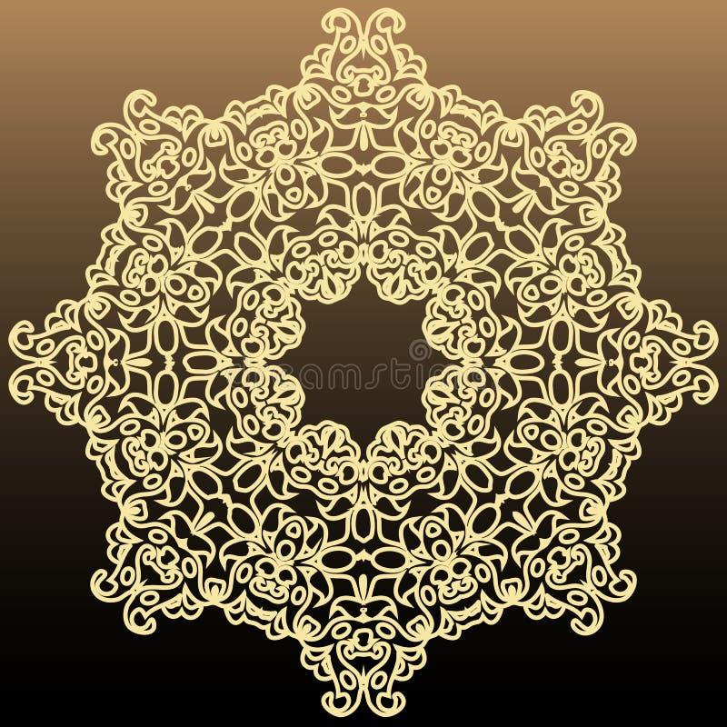 Rik symmetrisk rund beståndsdel för tappning på en mörk bakgrund royaltyfri illustrationer