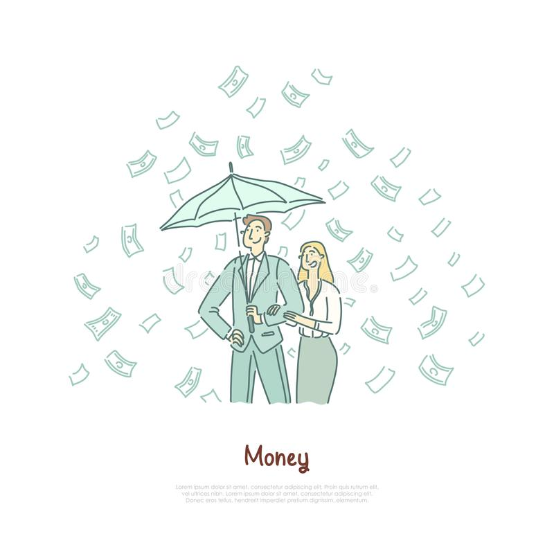 Rika par med paraplyet, lyckat egenföretagande, lönande investering, finansiell läs-och skrivkunnighet, lotteribaner vektor illustrationer