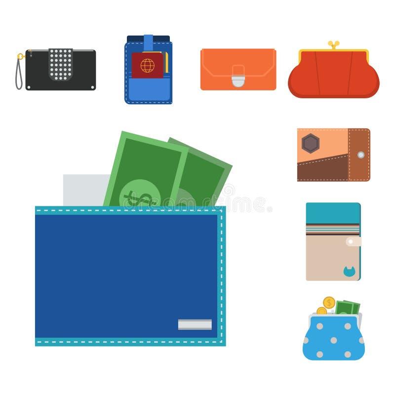 Rikedom för påse och för plånbok för betalning för plånböcker för affär för köp för shopping för pengar för handväskaplånbokvekto royaltyfri illustrationer